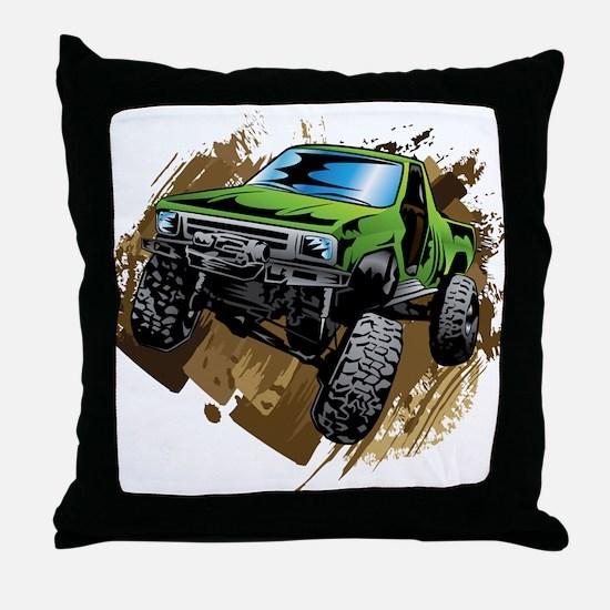 truck-green-crawl-mud Throw Pillow
