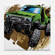 truck-green-crawl-mud Tile Coaster