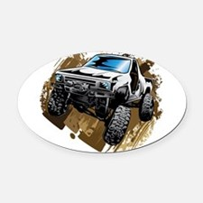 White Muddy Toyota Truck Oval Car Magnet