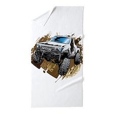 White Muddy Toyota Truck Beach Towel