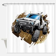 White Muddy Toyota Truck Shower Curtain
