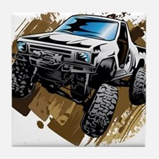 White Muddy Toyota Truck Tile Coaster