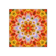 "Flower Kaleidoscope Square Sticker 3"" x 3"""