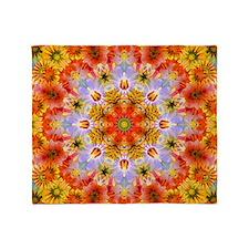 Flower Kaleidoscope Throw Blanket