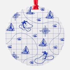 Royal Blue and White Nautical Map Ornament