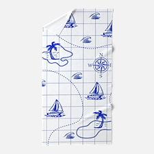 Royal Blue and White Nautical Map Beach Towel