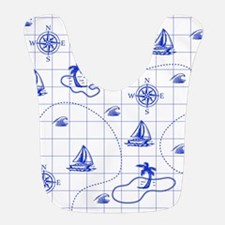 Royal Blue and White Nautical Map Bib