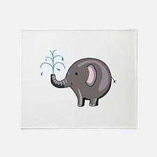 ELEPHANT SPRAYING WATER Throw Blanket