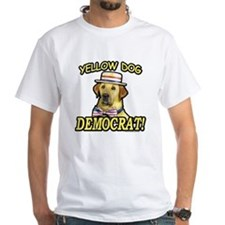 White T-shirt Yellow Dog Democrat