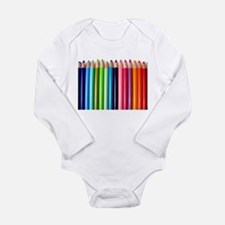 rainbow colored pencils white Body Suit