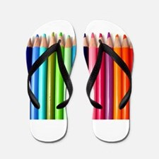 rainbow colored pencils white Flip Flops