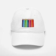 rainbow colored pencils white Baseball Baseball Cap