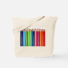 rainbow colored pencils white Tote Bag