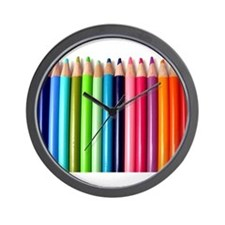 rainbow colored pencils white Wall Clock