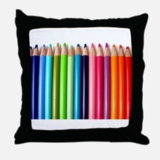 rainbow colored pencils white Throw Pillow