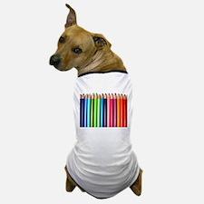 rainbow colored pencils white Dog T-Shirt
