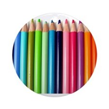 rainbow colored pencils white Ornament (Round)