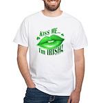Kiss Me I'm irish Green lips White T-Shirt