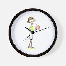Softball Player Wall Clock