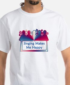 Singing Makes Me Happy (swirl) White T-shirt