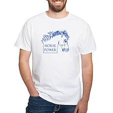 Horse Power (blue) White T-shirt