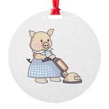 VACUUMING PIG Ornament