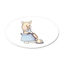VACUUMING PIG Oval Car Magnet