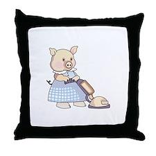 VACUUMING PIG Throw Pillow