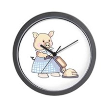 VACUUMING PIG Wall Clock