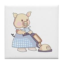 VACUUMING PIG Tile Coaster