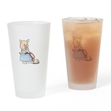 VACUUMING PIG Drinking Glass
