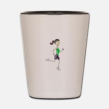 Woman Jogging Shot Glass