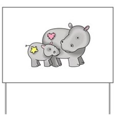 MOTHER AND BABY HIPPO Yard Sign