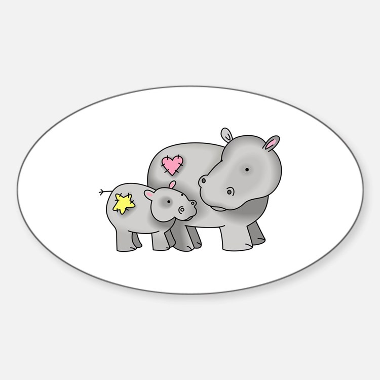 MOTHER AND BABY HIPPO Decal