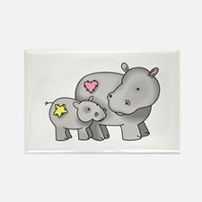 MOTHER AND BABY HIPPO Magnets
