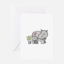MOTHER AND BABY HIPPO Greeting Cards