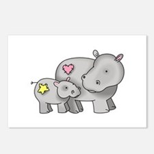 MOTHER AND BABY HIPPO Postcards (Package of 8)