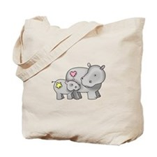 MOTHER AND BABY HIPPO Tote Bag