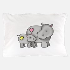 MOTHER AND BABY HIPPO Pillow Case