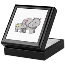 MOTHER AND BABY HIPPO Keepsake Box