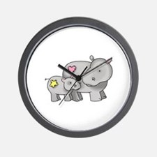 MOTHER AND BABY HIPPO Wall Clock