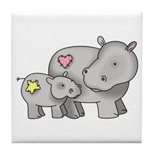 MOTHER AND BABY HIPPO Tile Coaster