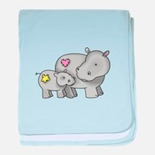 MOTHER AND BABY HIPPO baby blanket