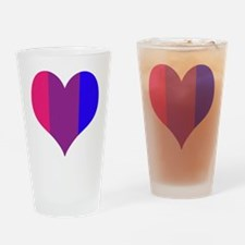 Striped Bisexual Heart Drinking Glass