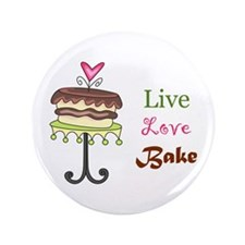 """LIVE LOVE BAKE 3.5"""" Button (100 pack)"""