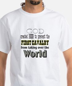 First Cavalry, Beer & God White T-shirt