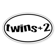 twins+2 Oval Bumper Stickers