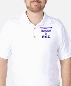 Promoted to Uncle, celebration banner Golf Shirt
