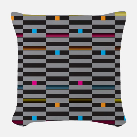 beam dashes and boxes Woven Throw Pillow
