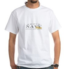 Proud Navy Mom (gold) White T-shirt